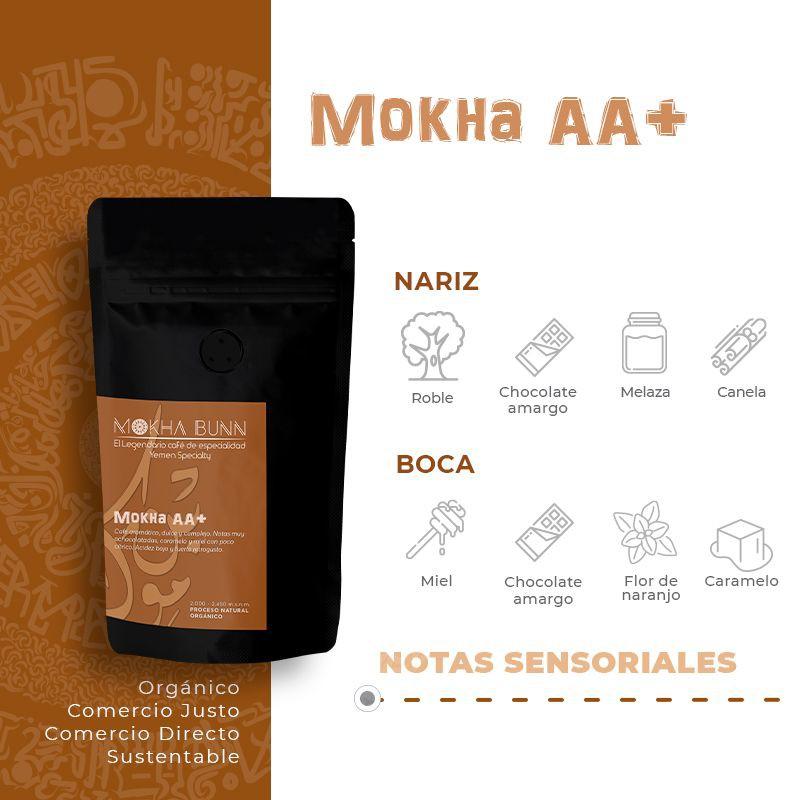 Mokha AA+   En Granos o Molido   Café de especialidad 1 KG