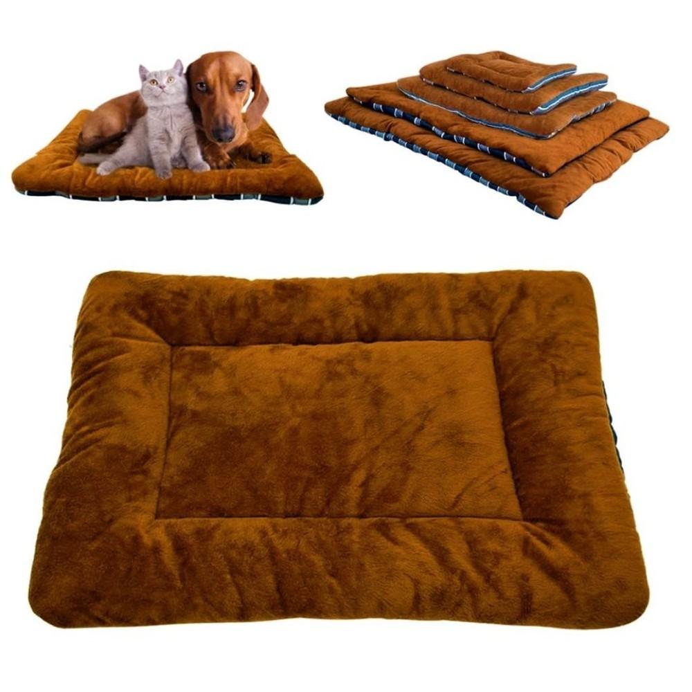 Cama para perro grande café con rayas