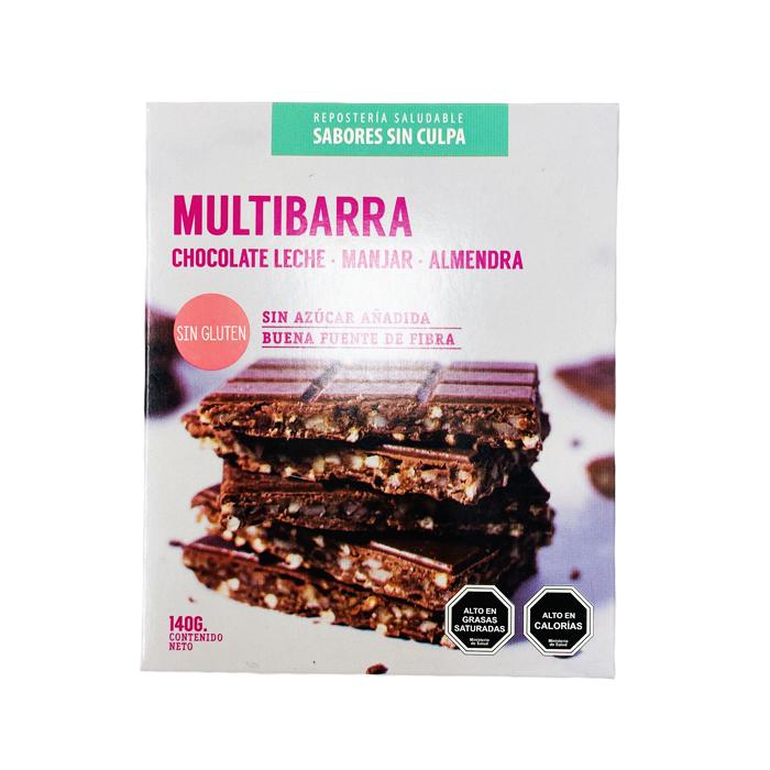 Multibarra chocolate, manjar y almendras 140g