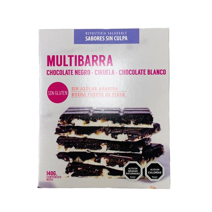 Multibarra chocolate negro, ciruela y chocolate blanco 140g