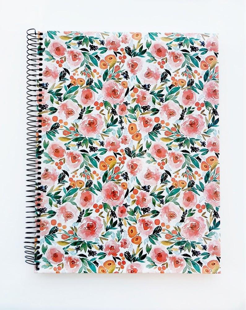Cuaderno grande anillado cuadriculado - flores rojas