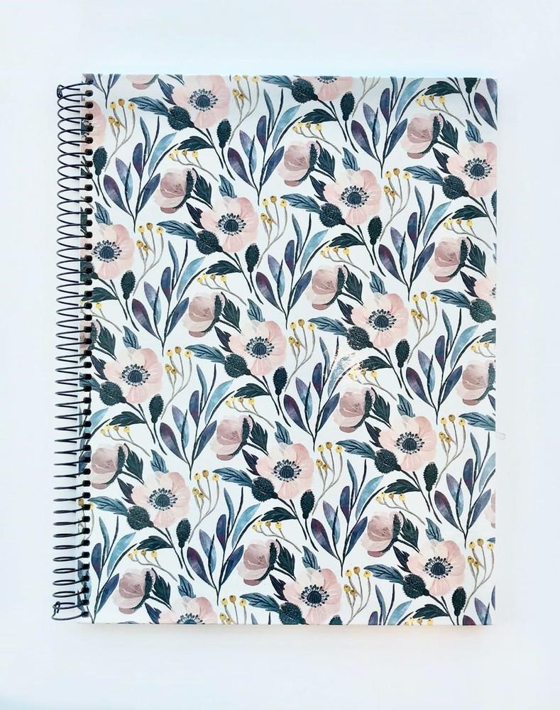 Cuaderno grande anillado cuadriculado - flores pastel