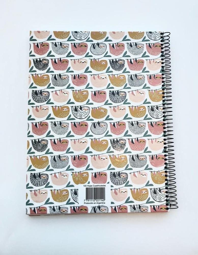 Cuaderno grande anillado cuadriculado - oso perezoso