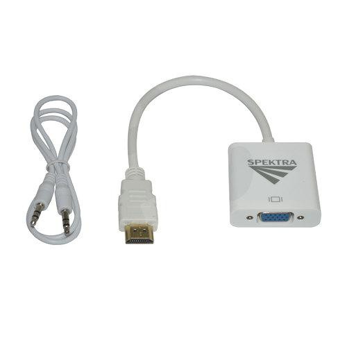 Adaptador HDMI macho a VGA hembra blanco