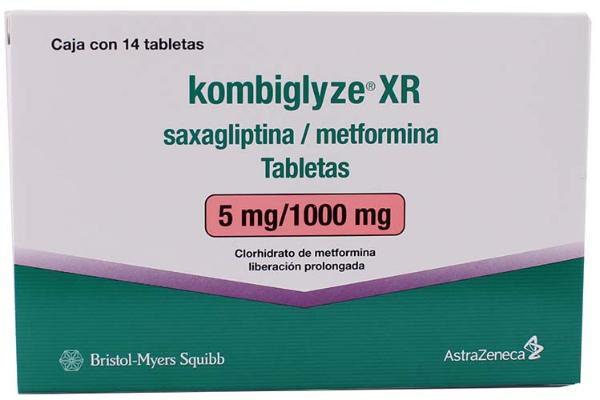 Kombiglyze XR tabletas saxagliptina / metformina 5 mg/1000 mg