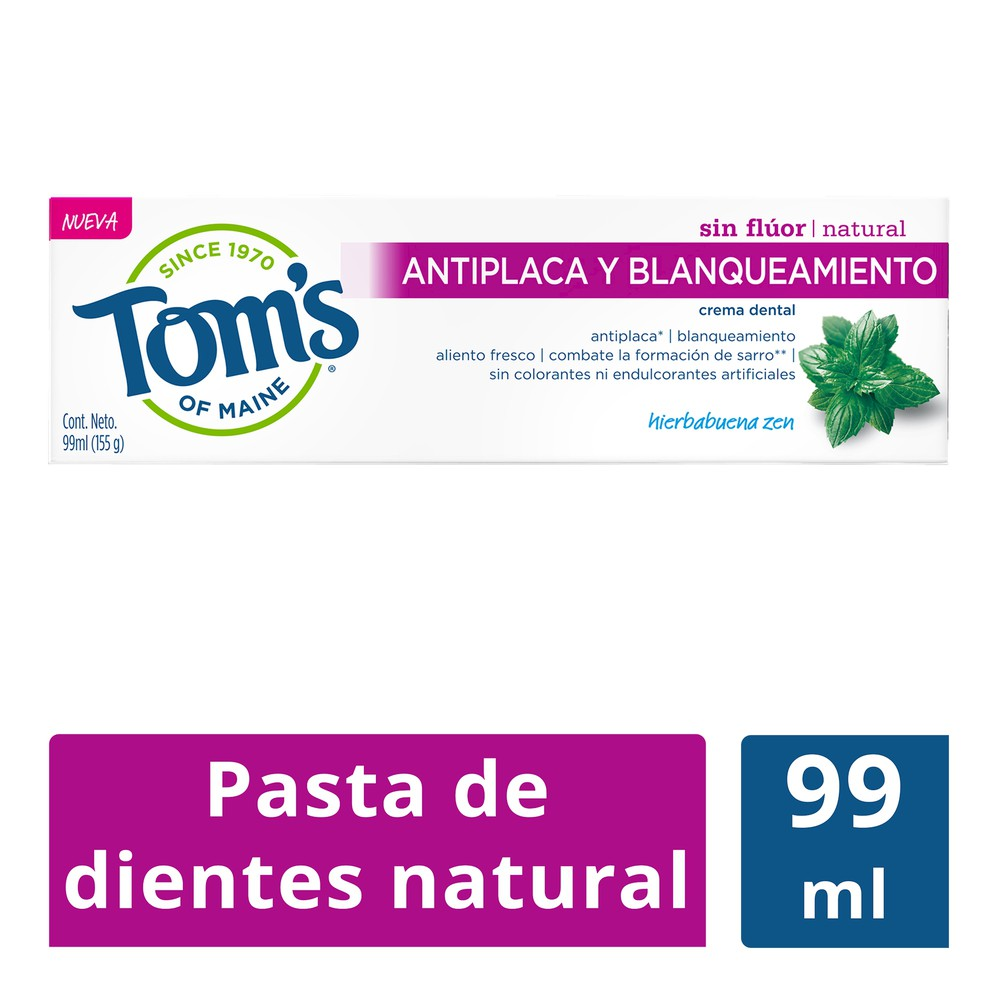 Crema dental natural antiplaca y blanqueamiento