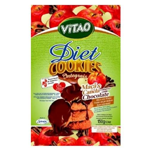 Cookies integrais diet de maçã e canela coberto com chocolate escuro