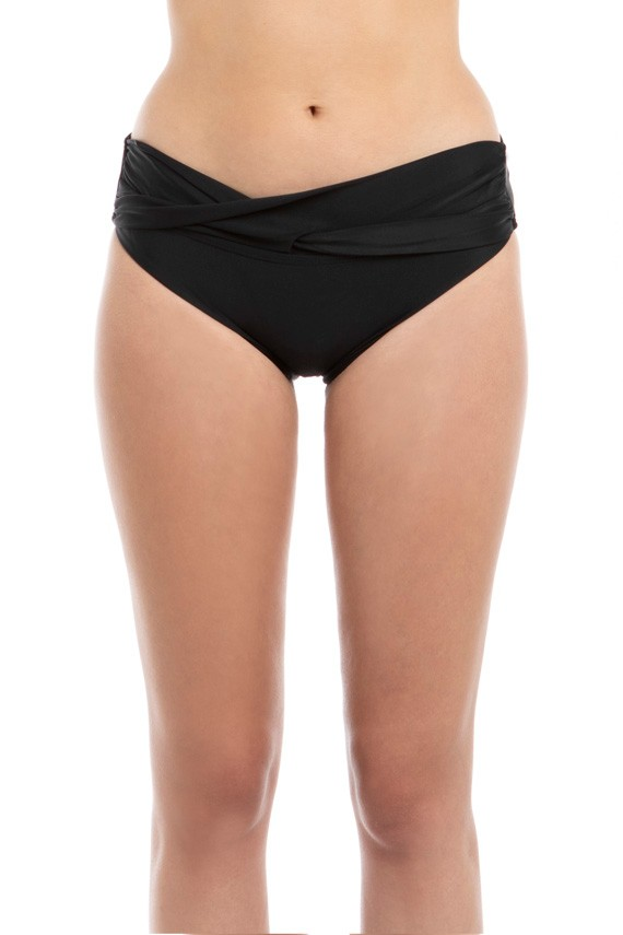Bikini calzón banda torcida negro
