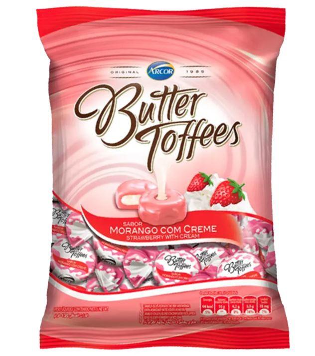 Bala Butter Toffees sabor morango com creme