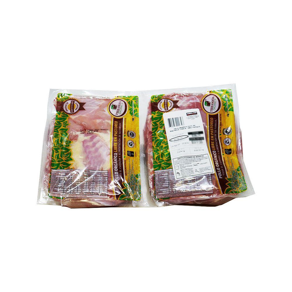 Pollo orgánico libre en pastoreo pierna y muslo sin hueso