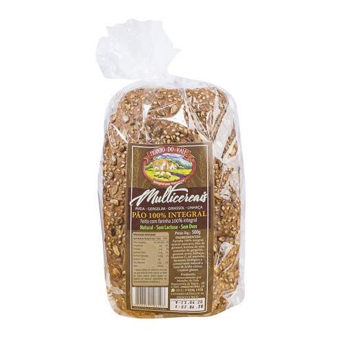Pão multicereais 100% integral sem ovos e sem lactose 500g