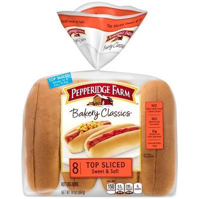 Pepperidge Farm Bakery Classics Top Sliced Sweet & Soft Hot Dog Buns, 14oz Bag, 8pk