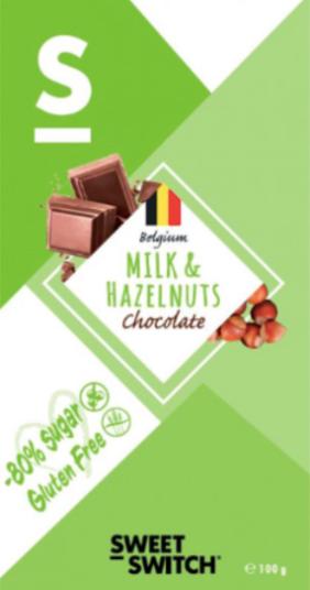 Chocolate de leche con avellanas sin azúcar y sin gluten
