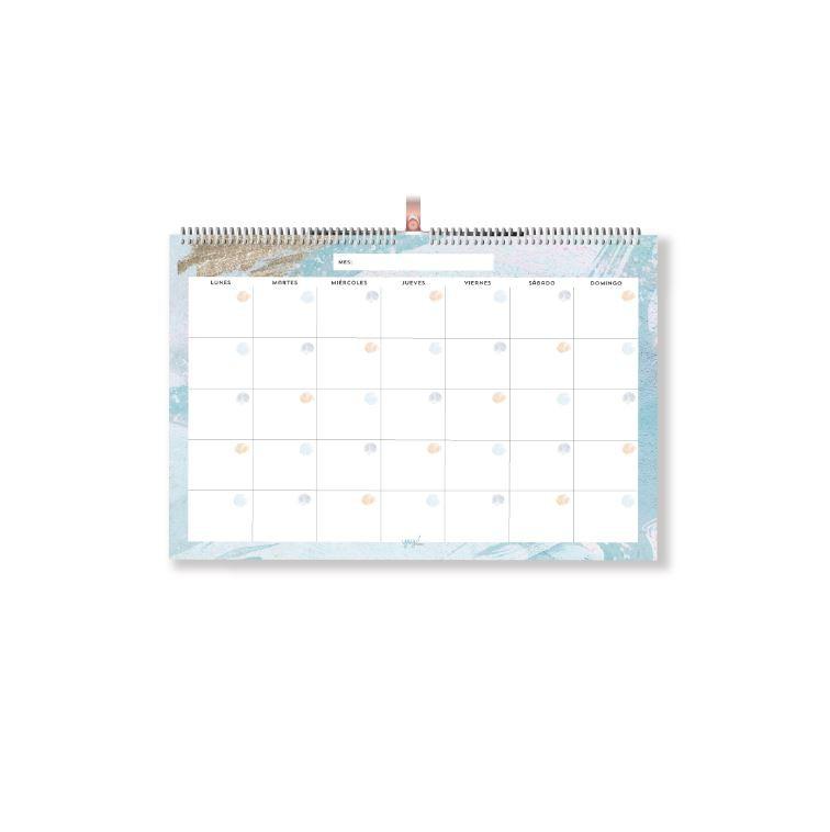 Calendario 35x50cm celeste dorado 35x50 cm