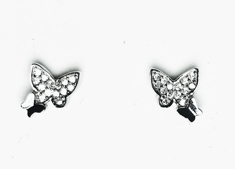 Aros mariposas circón Plata Fina 925 7 X 7 mm