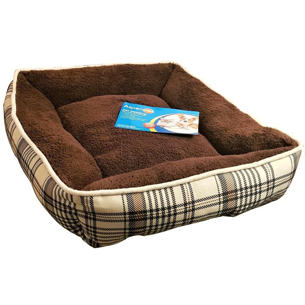 Cama para perro escocesa rectangular