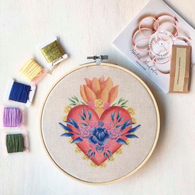 Mini kit de bordado corazón mexicano set