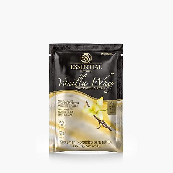Whey protein em sachê sabor vanilla- essential nutrition Embalagem de 30g