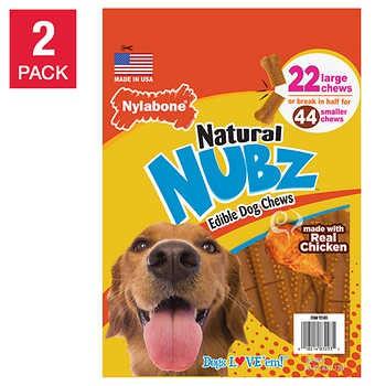Nylabone NUBZ Dog Chews, 22-count, 2-pack