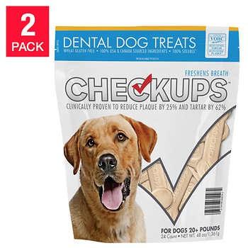 CheckUps Dental Dog Treats 24 Count, 2-pack