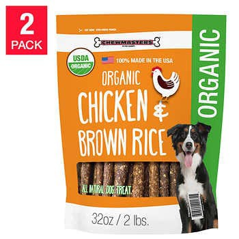 Chewmasters Organic Chicken & Brown Rice Dog Treats, 32 oz, 2-count