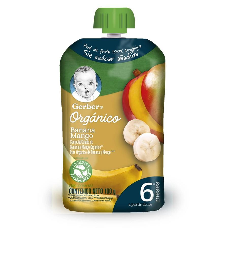 Compota orgánico plátano mango pouch