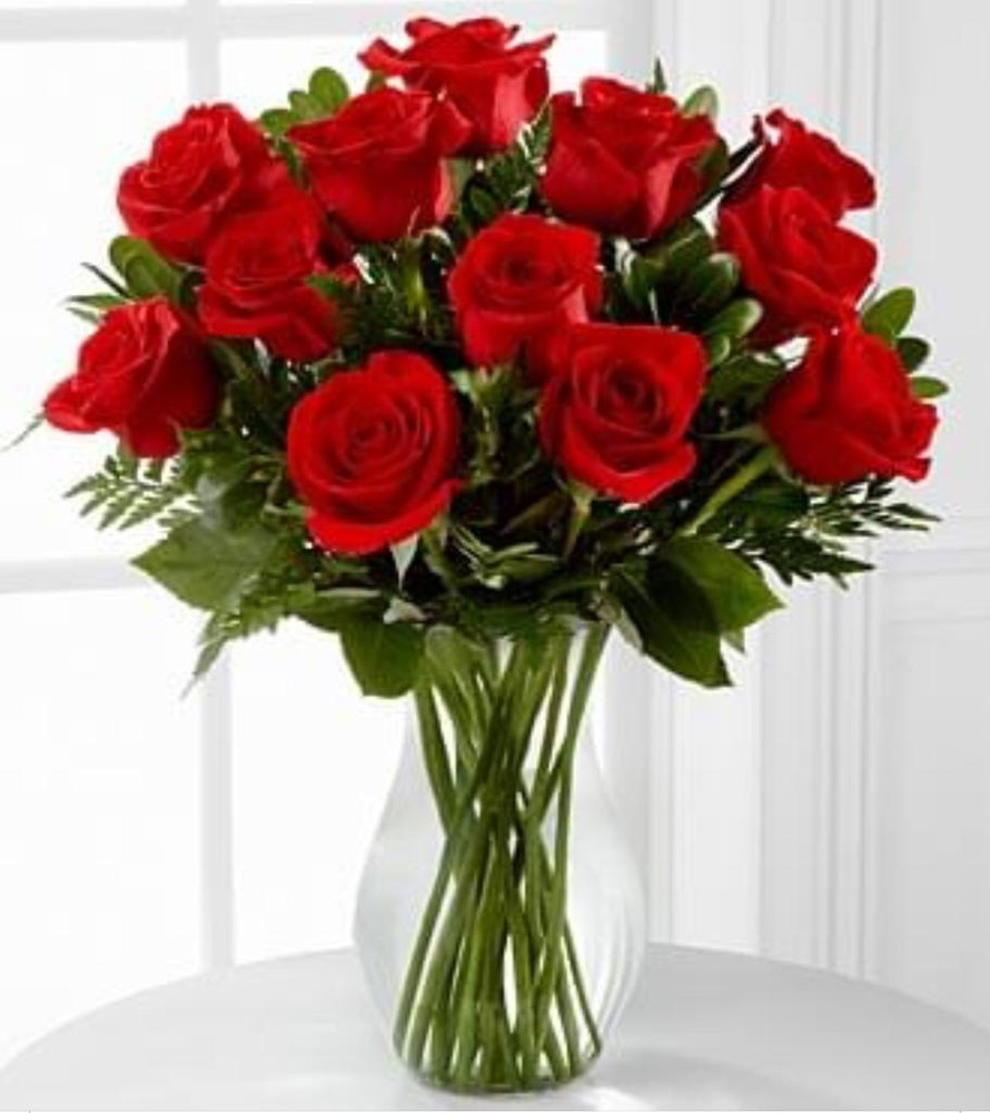Rosas Rojas x 12 12 Rosas + Florero