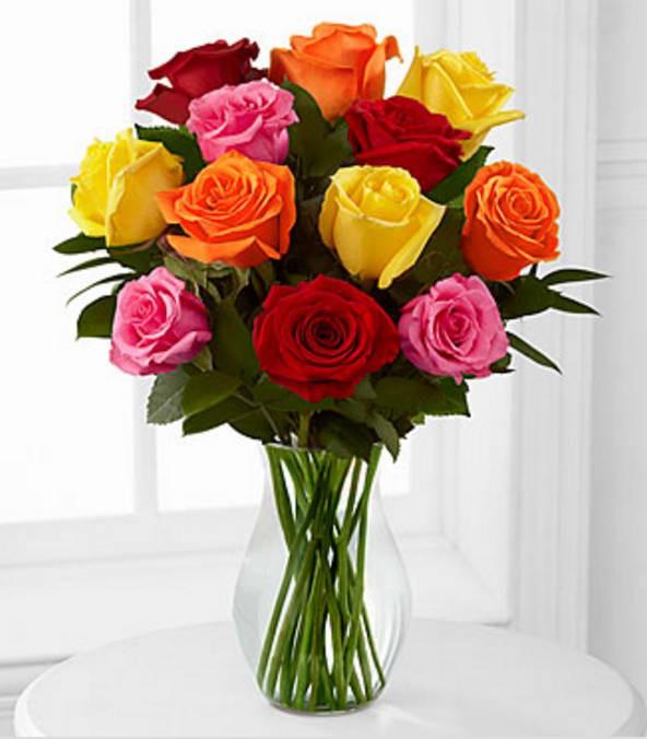 Rosas Colores x 12 12 Rosas + Florero