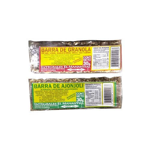 Barra de granola o ajonjoli