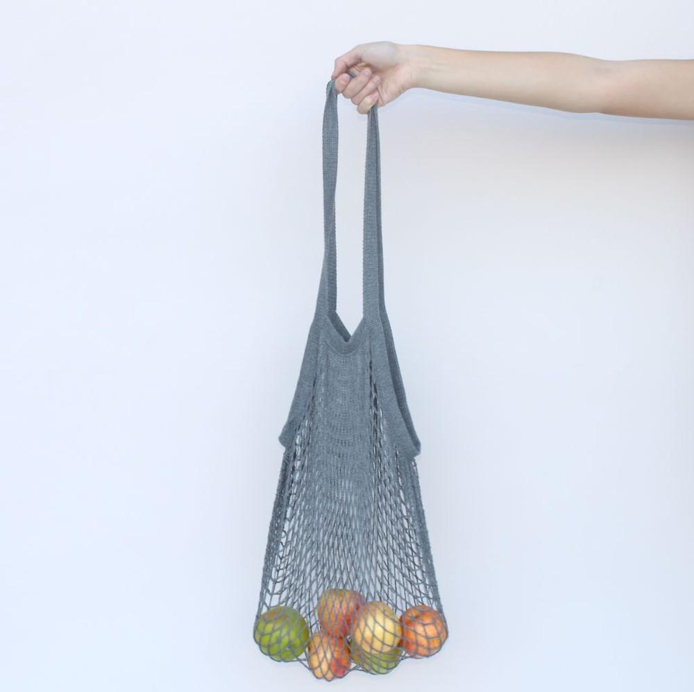 Bolsa malla gris mango largo