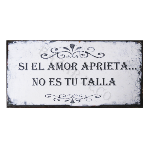 "Afiche ""si el amor aprieta no es tu talla"" PAQUETE, medida: 10x20 cm"