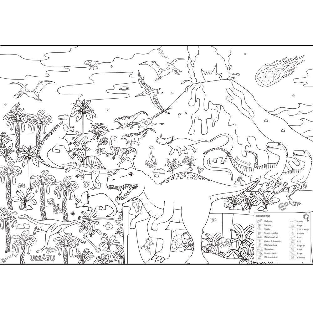 Poster era de los dinosaurios Dimensiones 100 x 70cm.  Cartulina.  Vienen en un tubo reutilizable.