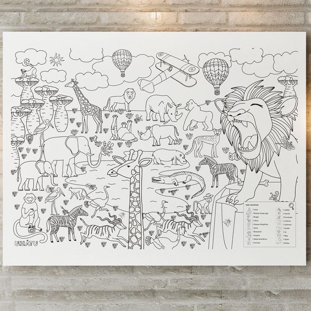 Poster sabana africana Dimensiones 100 x 70cm.  Cartulina.  Vienen en un tubo reutilizable