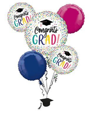 Bouquet de globos metálicos graduación 5 piezas