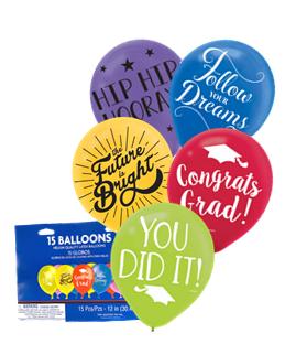 Bolsa de globos látex multicolor graduación
