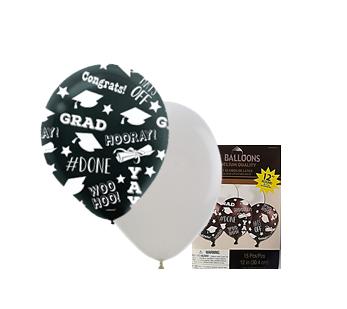 Bolsa de globos látex blanco y negro graduación