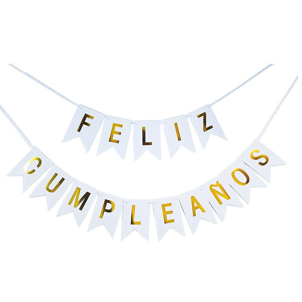 """Guirnalda Banderín """"Feliz Cumpleaños"""" Blanco Dorado Individual"""