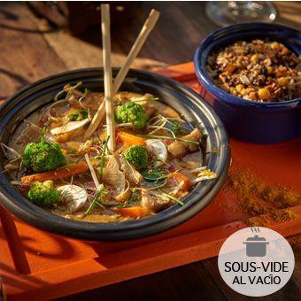 Stir fry vegetariano. 2 bolsas al vacío : una con stir fry 300gr y la otra con arroz salvaje 100gr