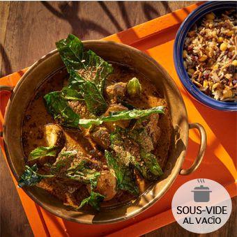 Curry pakistani de Angus 2 Bolsas al vacío (calentar al baño maría) : 300gr de curry y 100gr de arroz salvaje.