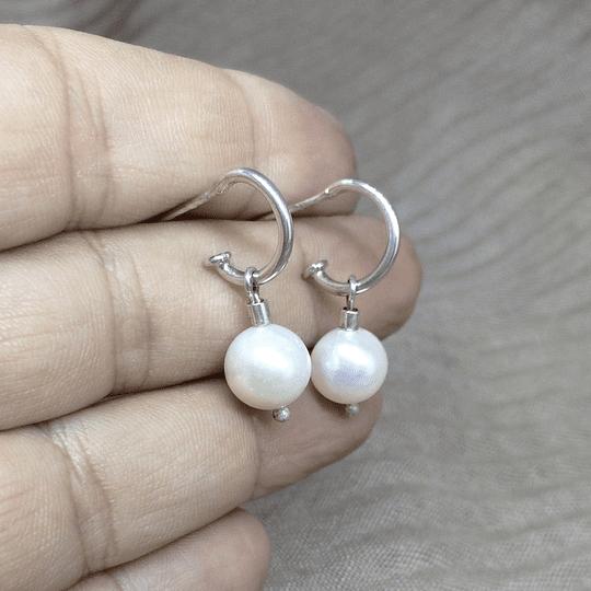 Aro argolla plata y perla pequeño 2cm de largo total