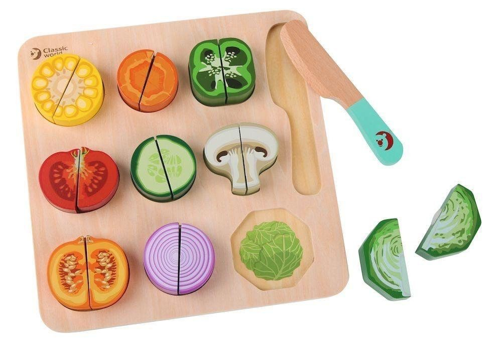 Puzzle Madera Natural Cutting Vegetables
