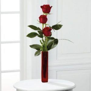 Florero de 3 rosas 45 cms aprox