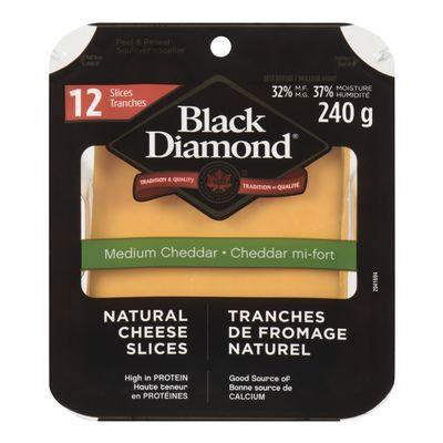 Medium cheddar cheese slices