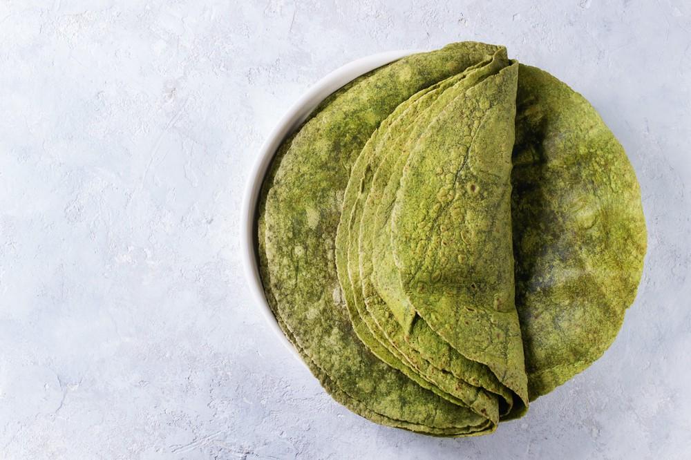 """Tortillas de trigo - espinaca - 7"""" (17.5cm.) Bolsa 12 un"""