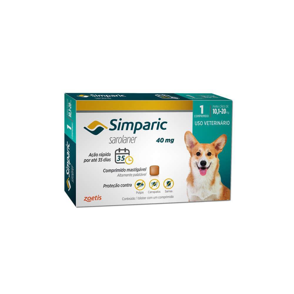 Antipulgas simparic para cães 40mg 1 comprimido