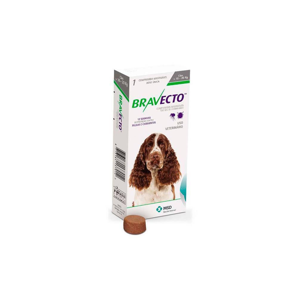 Antipulgas e carrapatos para cães Bravecto 500mg 1 comprimido
