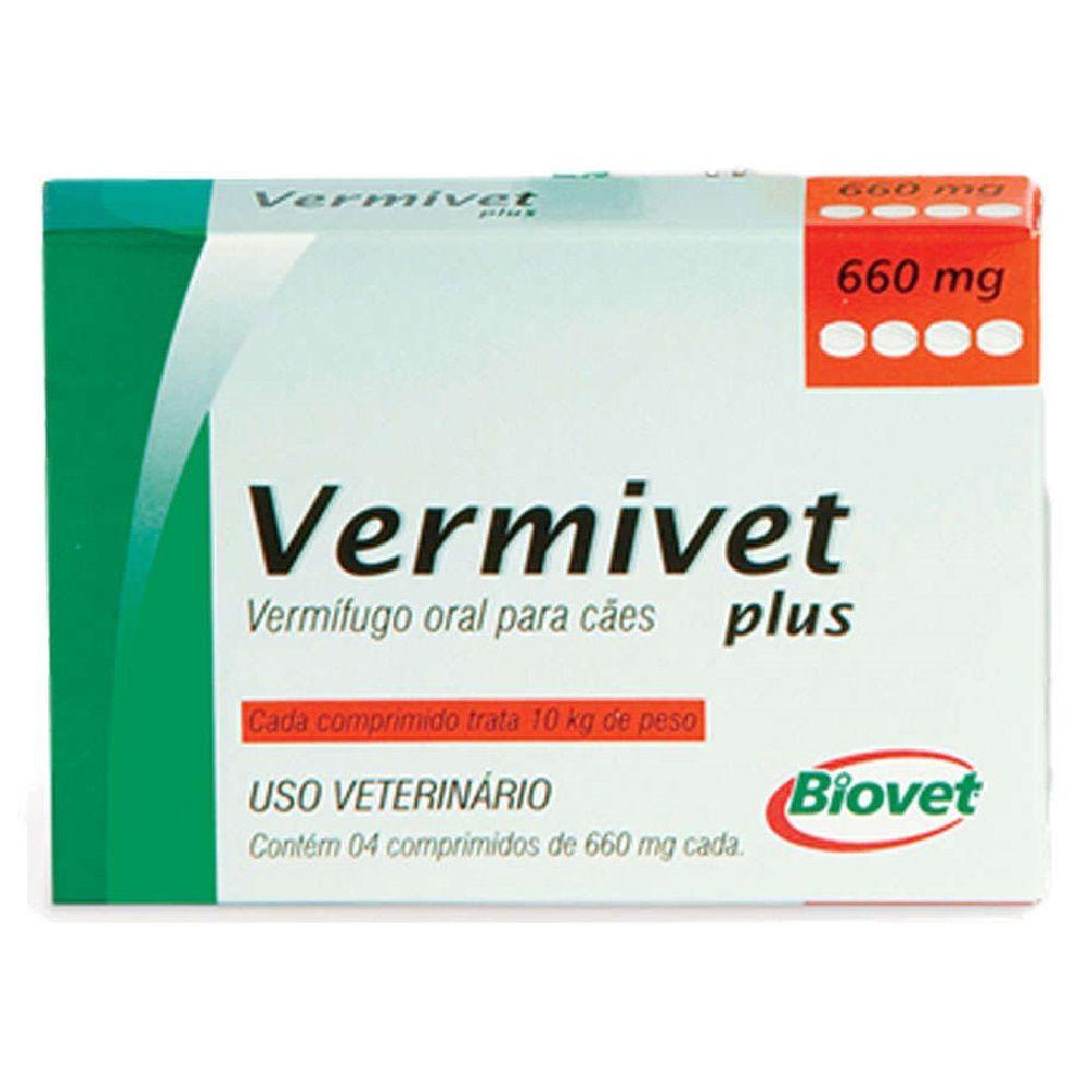 Vermífugo Vermivet plus cães até 10kg 4 Comprimidos