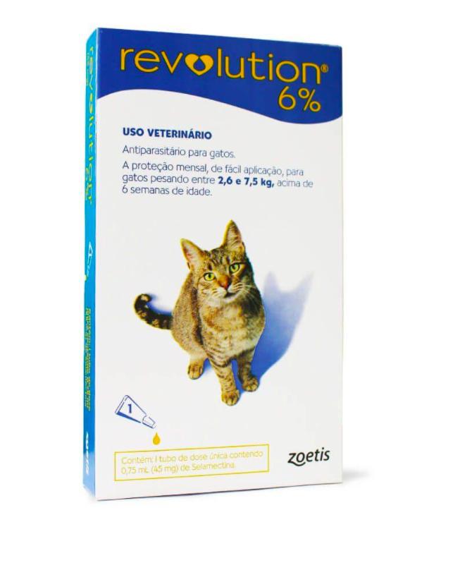 Antipulgas e carrapatos revolution 6% para gatos 1 pipeta