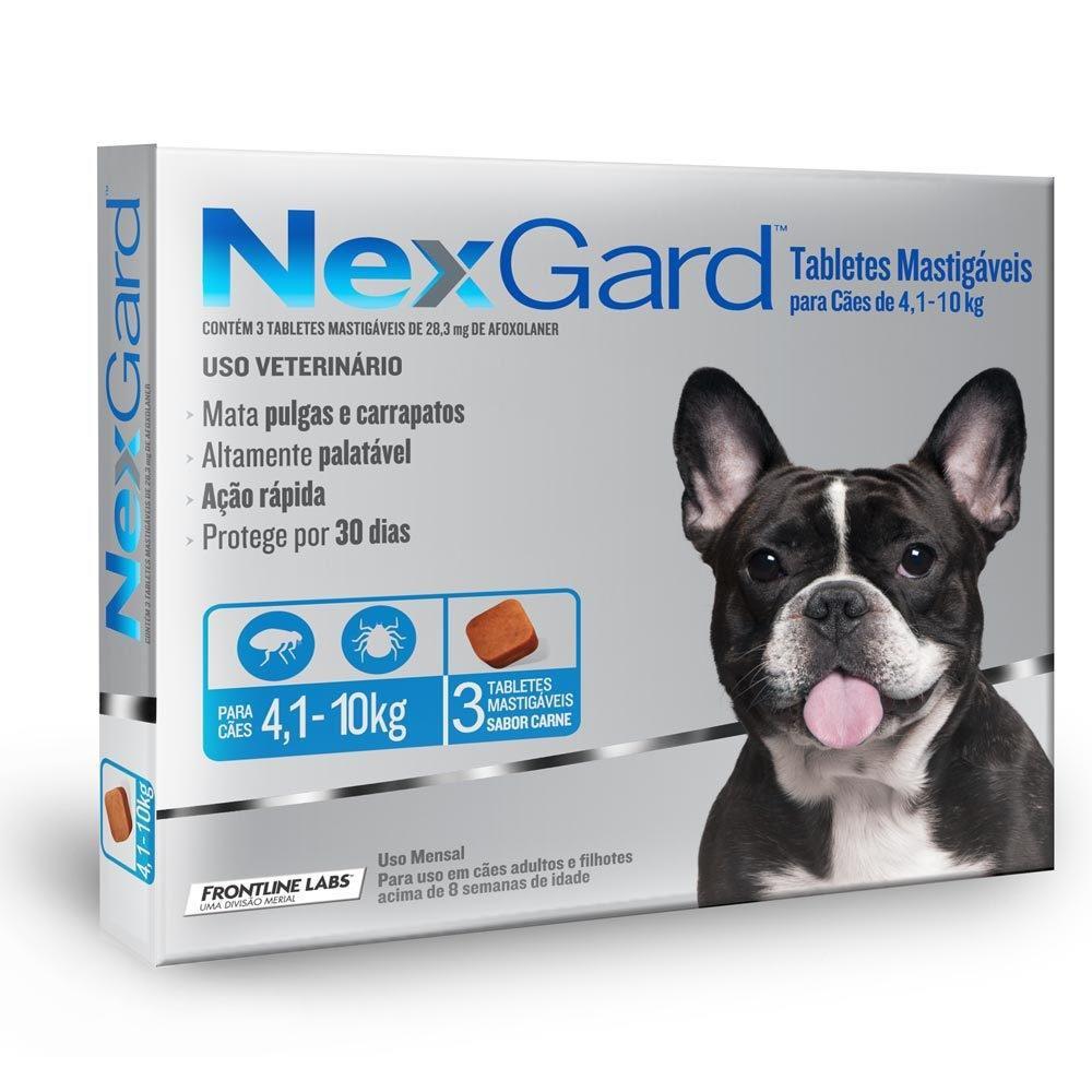 Antipulgas e carrapatos para cães Nexgard 28,3mg 3 comprimidos
