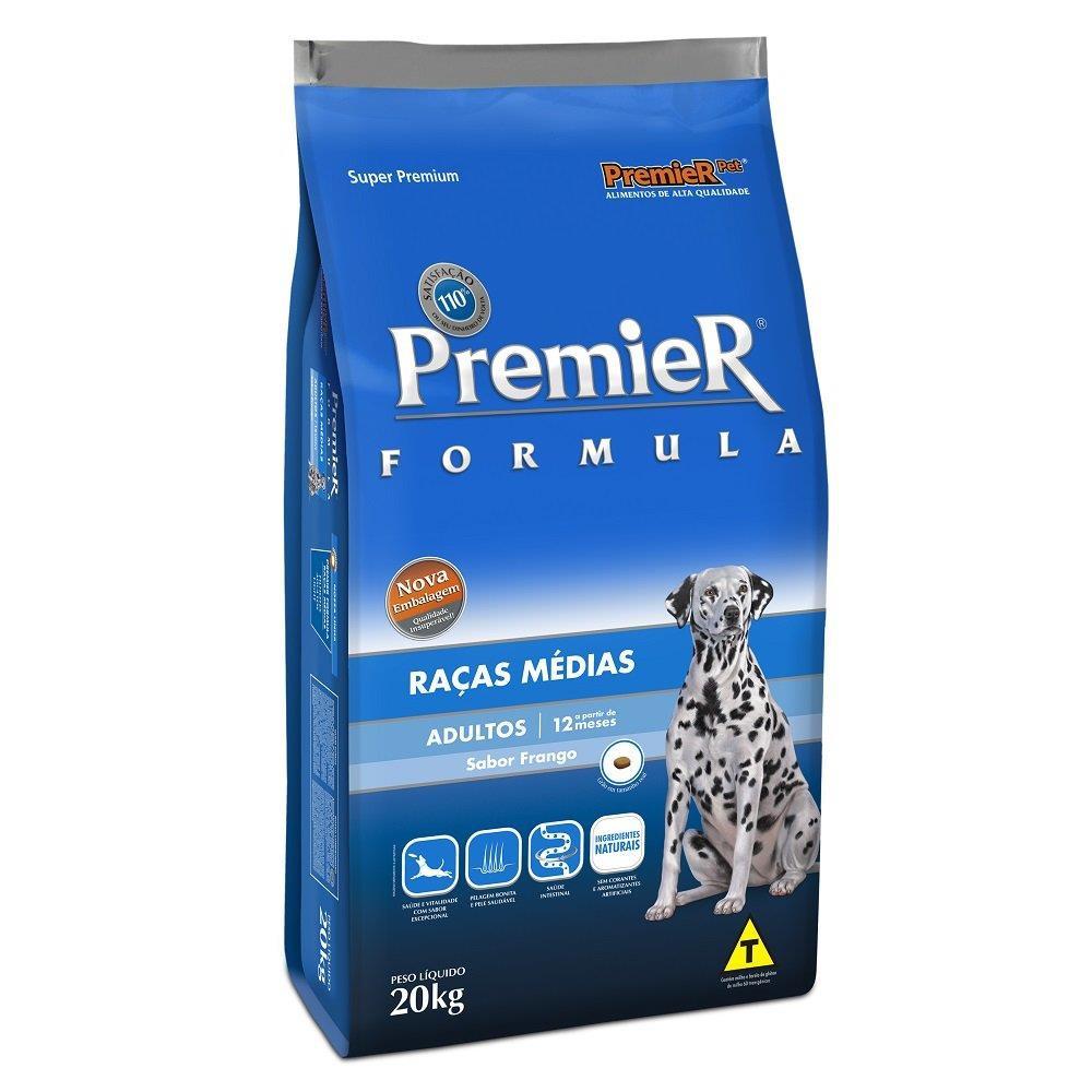Ração fórmula para cães adultos de raças médias sabor frango e arroz 20kg